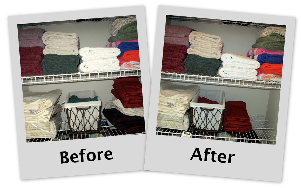 My linen supplies for Minimalism before and after