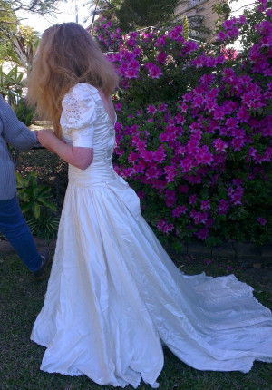 Me in my wedding dress 26 years after the event.